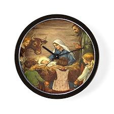Vintage Christmas Nativity Wall Clock