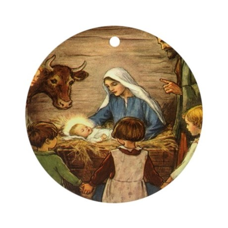 Vintage Christmas Nativity Ornament (Round)