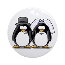 Bride and Groom Penguins Ornament (Round)