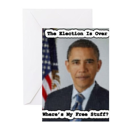 Barack Obama Free Stuff Greeting Cards (Pk of 20)