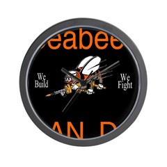 Seabees Can Do Black Wall Clock
