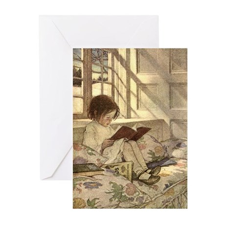 Vintage Books in Winter, Child Reading Greeting Ca