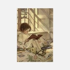 Vintage Books in Winter, Child Reading Rectangle M