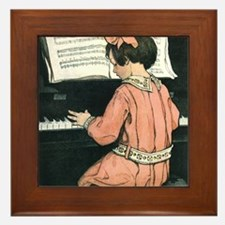 Vintage Child Playing the Piano Framed Tile