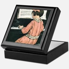 Vintage Child Playing the Piano Keepsake Box