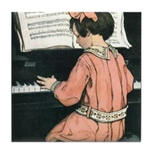 Vintage Child Playing the Piano Tile Coaster