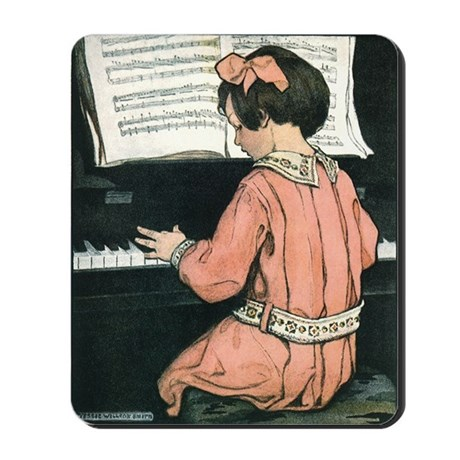 Vintage Child Playing the Piano Mousepad