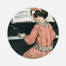 Vintage Child Playing the Piano Ornament (Round)