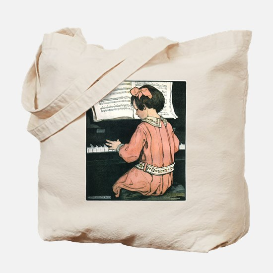 Vintage Child Playing the Piano Tote Bag