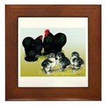 Black Cochin Family Framed Tile