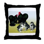 Black Cochin Family Throw Pillow