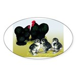 Black Cochin Family Oval Sticker