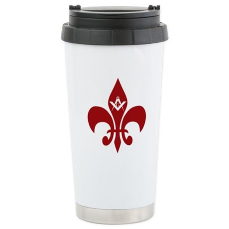 Fluer De Lis Masonic Stainless Steel Travel Mug