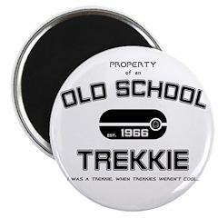 """Black - Old School Trekkie 2.25"""" Magnet (100"""