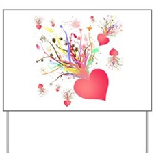 Abstract Heart Flower Yard Sign
