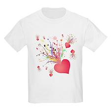 Abstract Heart Flower T-Shirt