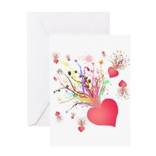 Abstract Heart Flower Greeting Card
