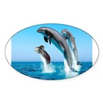 Doxie & Dolphins Oval Sticker
