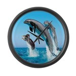 Doxie & Dolphins Large Wall Clock