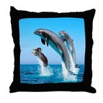 Doxie & Dolphins Throw Pillow