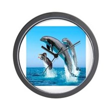 Doxie & Dolphins Wall Clock