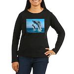 Doxie & Dolphins Women's Long Sleeve Dark T-Shirt