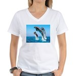 Doxie & Dolphins Women's V-Neck T-Shirt