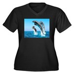 Doxie & Dolphins Women's Plus Size V-Neck Dark T-S