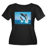 Doxie & Dolphins Women's Plus Size Scoop Neck Dark