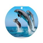 Doxie & Dolphins Ornament (Round)