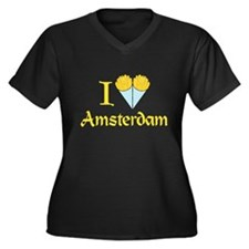 I Love Amsterdam Women's Plus Size V-Neck Dark T-S