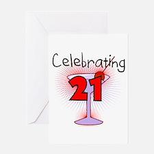 Cocktail Celebrating 21 Greeting Card