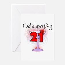 Cocktail Celebrating 21 Greeting Cards (Pk of 10)