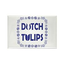Dutch Tulips Delft Blue Style Rectangle Magnet
