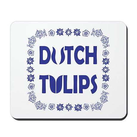 Dutch Tulips Delft Blue Style Mousepad