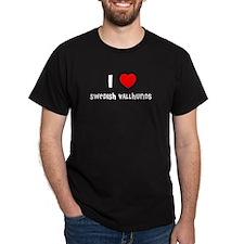 I LOVE SWEDISH VALLHUNDS Black T-Shirt