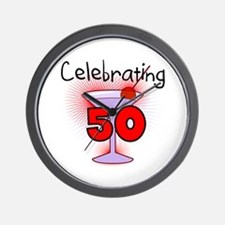 Cocktail Celebrating 50 Wall Clock