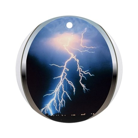 Blue Lightning Ornament (Round)
