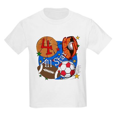 Sports 4th Birthday Kids Light T-Shirt