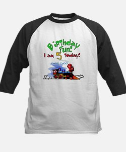 Train 5th Birthday Kids Baseball Jersey