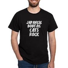 JAPANESE BOBTAIL CATS ROCK Black T-Shirt