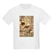 Vintage Books in Winter, Child Reading T-Shirt
