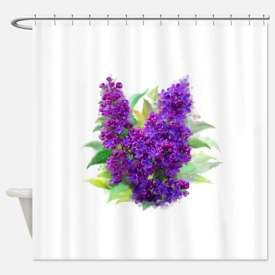 Purple Watercolor Lilac Shower Curtain