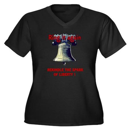 Let Liberty Ring Women's Plus Size V-Neck Dark T-S