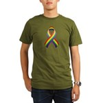 Rainbow Pride Ribbon Organic Men's T-Shirt (dark)