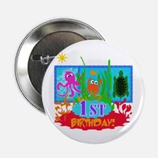 Undersea Adventure 1st Birthday Button
