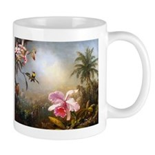 ORCHIDS, NESTING HUMMINGBIRDS AND A BUTTERF Mugs