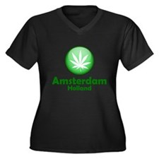 Green Amsterdam Pot Women's Plus Size V-Neck Dark