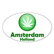 Green Amsterdam Pot Oval Sticker (10 pk)