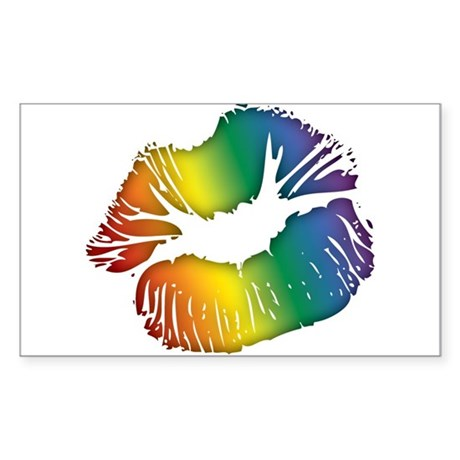 Big Rainbow Lips Rectangle Sticker